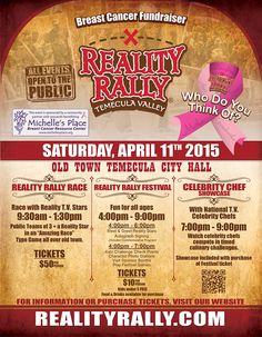 Reality Rally Event in Temecula California Old Town Temecula, Breast Cancer Fundraiser, Temecula Valley, Temecula California, Press Kit, Fundraising, Bliss, Stuff To Do, Fundraisers