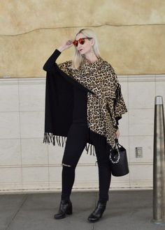 All black with a leopard wrap, Chico's ruana, style over 40, chic over 40, how to style a ruana, Alexander Wang Roxy bucket bag, Jambu Anita booties, Joe's jeans, midlife style, OOTD, outfit inspiration, versatile accessories, a pop of leopard, leopard print