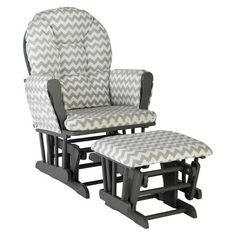 189 target Storkcraft Hoop Gray Frame Glider and Ottoman - Gray Chevron