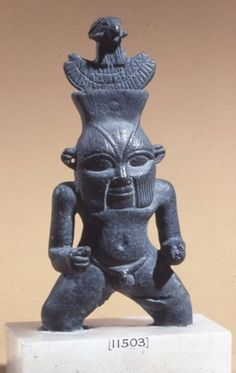 Bronze figure of Bes, with aegis of Amun on head. New Kingdom period, Egypt. British Museum, online collection.