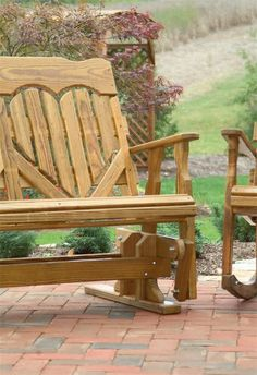 Amish Pine Wood High Back Heart Outdoor Glider Bench