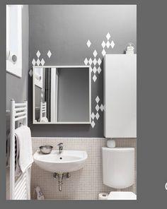 Badezimmer Grau Rauten