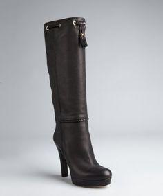 Gucci - black pebbled leather 'Marrakech' braided trim tassel platform boots