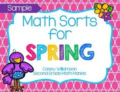 Math Sorts for Spring - SAMPLE  Freebie...Math, Basic Operations, Measurement   1st, 2nd, 3rd Math Centers...The sort in this sample involves sorting equations sums Greater Than, Less Than, & Equal to 50.