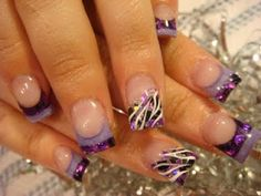 Cute purple acrylic nails nailart