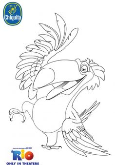 What about to color this beautiful picture of Rafael while you wait for the upcoming movie Rio Enjoy this Rio 2 coloring page and have fun! Rio 2, Carnival Themed Party, Carnival Themes, Party Themes, Party Ideas, Coloring Book Pages, Coloring Pages For Kids, Rio Birthday Parties, Rio Party