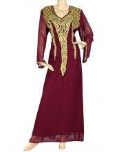 "aljalabiya.com: ""Plum Yum"" Pure chiffon kaftan with hand and machine embroidery (N-10695)    $119.00"