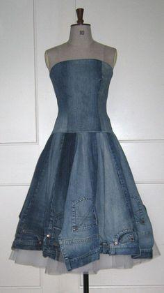 Recycled denim jeans dress http://ibeebz.com