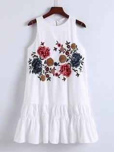 Vestido con bordado y espalda con abertura -Spanish SheIn(Sheinside)