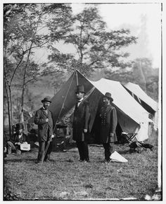 April 9, 2015 marks 150 years since the American Civil War ended at Appomattox Court House, Virginia. Here, Allan Pinkerton, President Lincoln, and Major General John A. McClernand stand at Antietam, MD, the location of one of the War's bloodiest battles. #tbt #CivilWar