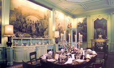 Inside Sandringham: The dining room decorated as it is today, painted in a shade of green the queen saw at Braemar Royal Uk, British Royal Families, Billiard Room, The Crown, Creative Home, Place Settings, British Royals, Shades Of Green, Old World