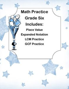 This is a great way to offer your class practice and review. This collection is short-meant for a class period or for a guest teacher or a homework assignment. It reviews: Place Value Expanded Notation LCM Practice LCF Practice. It also is a good evaluation tool for the 4 areas covered.