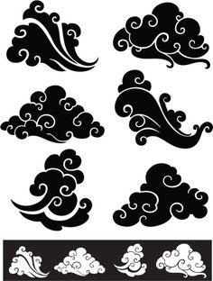 Cloud Drawing, Cloud Art, Japan Tattoo, Japanese Patterns, Japanese Art, Japanese Stamp, Japanese Sleeve, Japanese Symbol, Body Art Tattoos