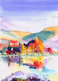 Kilchurn Castle, Loch Awe (Splatter) by Jonathan Wheeler in watercolour Watercolor Print, Watercolor Ideas, Scottish Castles, Wall Art, Watercolours, Artist, Prints, Scotland, Painting