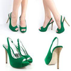 """Emerald Green High Heels   Details about EMERALD GREEN PEEPTOE 5"""" HIGH HEEL PLATFORM SLINGBACK ..."""