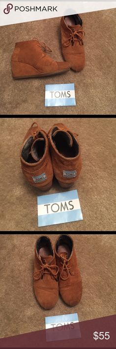 """TOMS wedge booties Suede fabric, 2"""" heel TOMS Shoes Ankle Boots & Booties"""