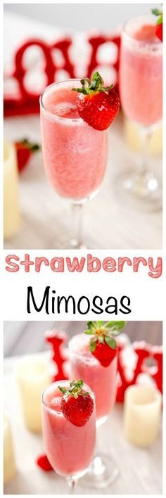 Strawberry Mimosa Recipe: Easy make ahead Strawberry Mimosas that only require 6 ingredients. Perfect for Valentine's Day breakfast or brunch!