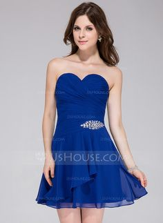 Homecoming Dresses - $79.99 - A-Line/Princess Sweetheart Short/Mini Chiffon Homecoming Dress With Beading Cascading Ruffles (022027098) http://jjshouse.com/A-Line-Princess-Sweetheart-Short-Mini-Chiffon-Homecoming-Dress-With-Beading-Cascading-Ruffles-022027098-g27098