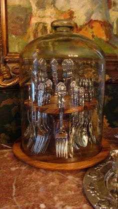 After seeing this, I now want an old pipe stand like my Grandpa had. I have just the right set of gold colored flatware to display like this (1) From: Christine's Home And travel Adventures, please visit