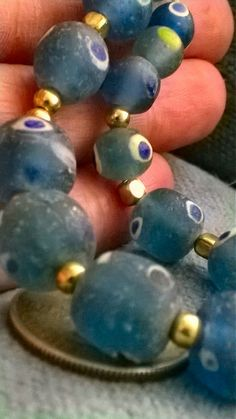 Absolutely awesome Old glass eye beads light blue