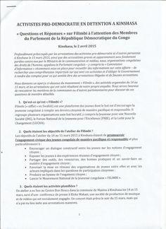 April 4, 2016:  « QUESTIONS ET REPONSES » SUR FILIMBI A L'ATTENTION DES MEMBRES DU PARLEMENT DE LA #RDC / ACTION CONJOINTE ACAJ-VSV-ASADHO-LE