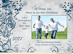 This crisp ornaments Christmas card uses holiday graphics to surround your Christmas greeting and accent optional photos of your happy family! Christmas Photo Cards, Christmas Greetings, Christian Christmas Cards, Photo Boards, Are You Happy, Joy, Peace, Crisp, Holiday