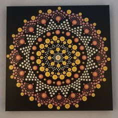 30 x 30 cm. Mandala Dots, Acrylic Painting Canvas, Tapestry, Hand Painted, Design, Art, Pointillism, Mandalas, Hanging Tapestry