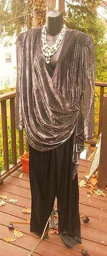 VINTAGE 80s PROM PARTY DRESS PANTS SUIT JUMPSUIT GLITTER PLUS SIZE XXL