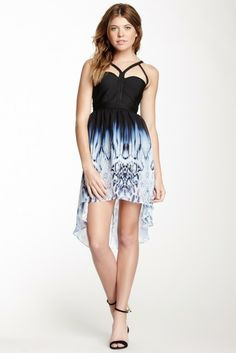 Wow Couture Hi-Lo Printed Bandage Dress
