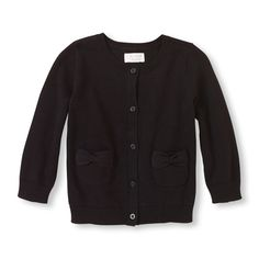 Long Sleeve Bow Pocket Button-Down Cardigan