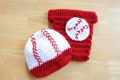 Baby Baseball Set, Newborn Baseball Set, Baseball Hat and Diaper Cover, Baseball Costume, Newborn to 12 months sizes, Photography Prop on Etsy, $33.00