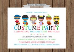 29 best halloween costume party invitations images on pinterest costume party birthday invitation boys halloween party printable kids on etsy filmwisefo