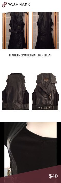 """Mom's Day Sale Leather/Fitted Biker Dress This dress is wonderful. Full leather front and back with spandex inserts on sides for that extra awesome fit. Full front zipper with great bodice and belt detailing. 29"""" long from shoulder. Excellent condition. American Top Dresses Mini"""