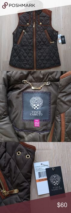 Vince Camuto quilted vest, NWT Quilted vest vith faux suede and gold details. Dark olive/brown color. It is light, great for spring or summer. Link to the website (with model pictures): https://www.nordstromrack.com/shop/product/1371268/vince-camuto-quilted-vest?color=BARK-COGNA Vince Camuto Jackets & Coats Vests