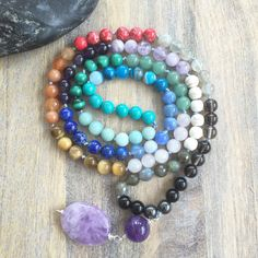 Chakras Mala Beads /Balance Energy Mala/Mantra/Gemstones/Knotted Mala/Yoga/Necklace/Mala Beads/Boho-chic