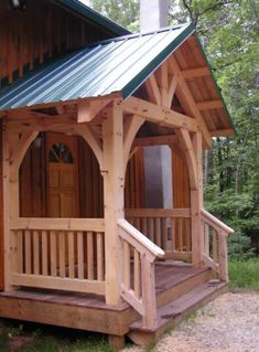 """"""""""" Timber frame porch, deck & entrance projects built by MoreSun """""""" Covered front entry protects front door and you from the weather! Building A Porch, Building Homes, Porch Roof, Roof Balcony, Door Canopy, Marquise, House With Porch, Front Entrances, Decks And Porches"""