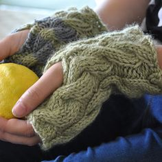 Bessie May Knit Kit ~ Nettle Cable Mitts / Wrist Warmers