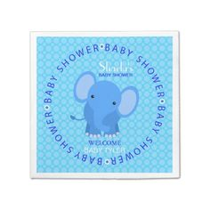 Shop Blue Elephant Baby Shower Paper Napkins created by DaisyLane. Baby Shower Napkins, Ecru Color, And So The Adventure Begins, Elephant Baby, Cocktail Napkins, Paper Napkins, Trendy Baby, Baby Accessories, Baby Boy Shower