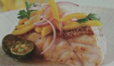 Easy food recipe: Pan-sheared Fish Fillet with Mango Salad -- Delectable dish, try making it! #frenchfries