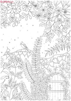 Garden Coloring Pages Unique Secret Garden An Inky Treasure Hunt Andsecret Garden Coloring Book - coloring book Secret Garden Coloring Book, Garden Coloring Pages, Coloring Pages For Grown Ups, Coloring Book Pages, Printable Coloring Pages, Coloring Worksheets, Doodle Coloring, Mandala Coloring, Colorful Garden