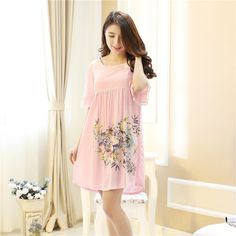 Plus Size Nightgowns For Women Print Flowers Girls Nightshirts Nightdress Cotton Sleepshirt Summer Dressing Gowns 80083 New Hijab Style, Trendy Outfits, Cool Outfits, Sleep Dress, Nightgowns For Women, Silk Satin, Hijab Fashion, Night Gown, Women Lingerie