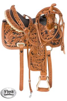 This saddle has beautiful classic look that can't be beat. Featuring our premium quality leather with hand carved oak leaf tooling and hand painted black inlay, this saddle is very eye catching! This saddle has a comfortable ostrich-skin seat with a tall cantle that is trimmed in silver laced rawhide. Silver studs trimming the entire skirt and antique conchos make this saddle one of a kind. Comes with matching hand carved headstall, reins and breast-collar. ONLY $449.99