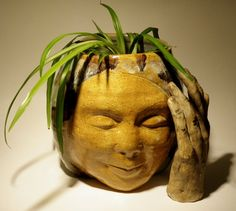 Ceramic Head Planter Face Vessel Flower Pot Buddha Sculpture Smile Decorative Vase