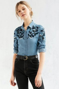 BDG Embroidered Western Button-Down Shirt