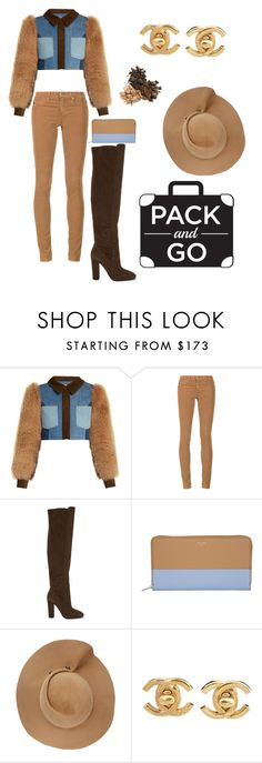 """""""Fur and Suede"""" by ddchanel ❤ liked on Polyvore featuring Sonia Rykiel, AG Adriano Goldschmied, ALDO, CÉLINE, Eugenia Kim and Chanel"""