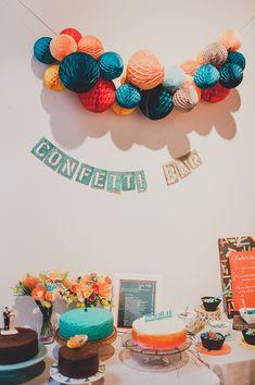 Confetti bar and desserts table!