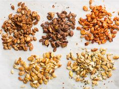 Reinvented: Pumpkin Seeds 5 Ways -- Save the seeds when you're making a jack-o'-lantern or perfect pumpkin pie. They make a great sweet or savory snack when lightly roasted. Savory Snacks, Healthy Snacks, Healthy Eating, Healthy Recipes, Snack Recipes, Paleo Appetizers, Appetizer Recipes, Yummy Recipes, Roast Pumpkin