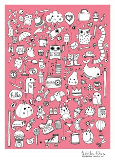 little thee Doodle Drawing - Illustration Print. £5.00, via Etsy.