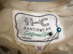 H and C Ranchwear label - before it became H Bar C - late 1940s
