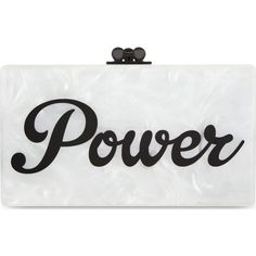 EDIE PARKER Jean Power box clutch (29,645 MXN) ❤ liked on Polyvore featuring bags, handbags, clutches, white pearl w blk hw, edie parker handbags, hard clutch, kiss-lock handbags, edie parker clutches and edie parker